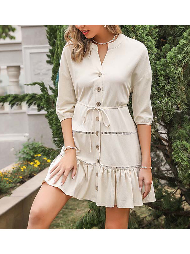 LITB Basic Women's Round Neck Skirt Knee Length Mid Dress A Line Half Sleeve Daily Wear