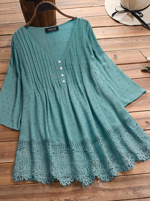 Women's Plus Size Tops Blouse Shirt Plain Button 3/4 Length Sleeve V Neck Casual Summer Spring White Blushing Pink Green Big Size XL 2XL 3XL 4XL 5XL