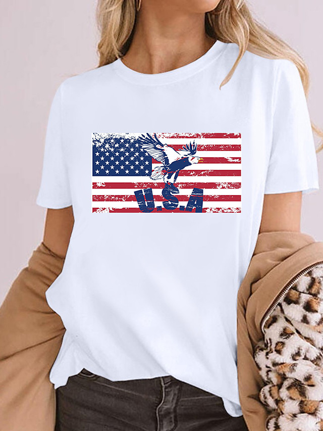 Women's Painting T shirt Graphic American Flag National Flag Print Round Neck Basic Tops 100% Cotton White Blue Purple