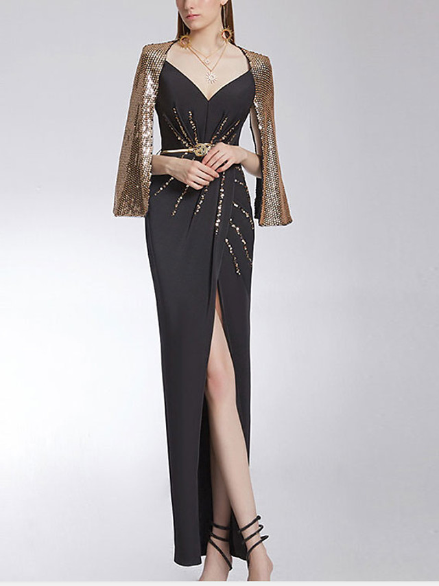 Sheath / Column Glittering Sexy Engagement Formal Evening Dress V Neck Sleeveless Floor Length Sequined Stretch Fabric with Beading Sequin Split 2021