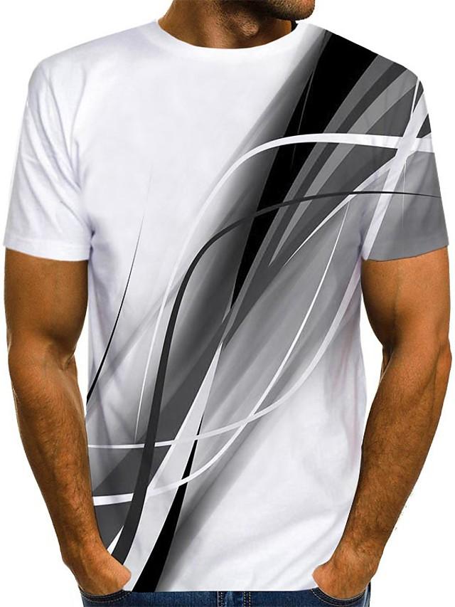 Men's T shirt Shirt 3D Print Graphic Print Short Sleeve Daily Tops Streetwear Round Neck Blue Red Gray