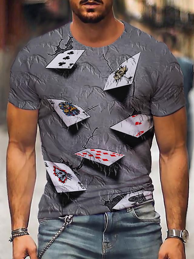 Męskie Podkoszulek Koszula Druk 3D Graficzny 3D Nadruk Krótki rękaw Codzienny Najfatalniejszy Okrągły dekolt Fioletowy Żółty Niebieski