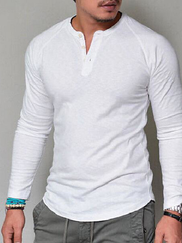 Men's T shirt Graphic Solid Colored Long Sleeve Daily Tops Basic V Neck Army Green Grey Khaki