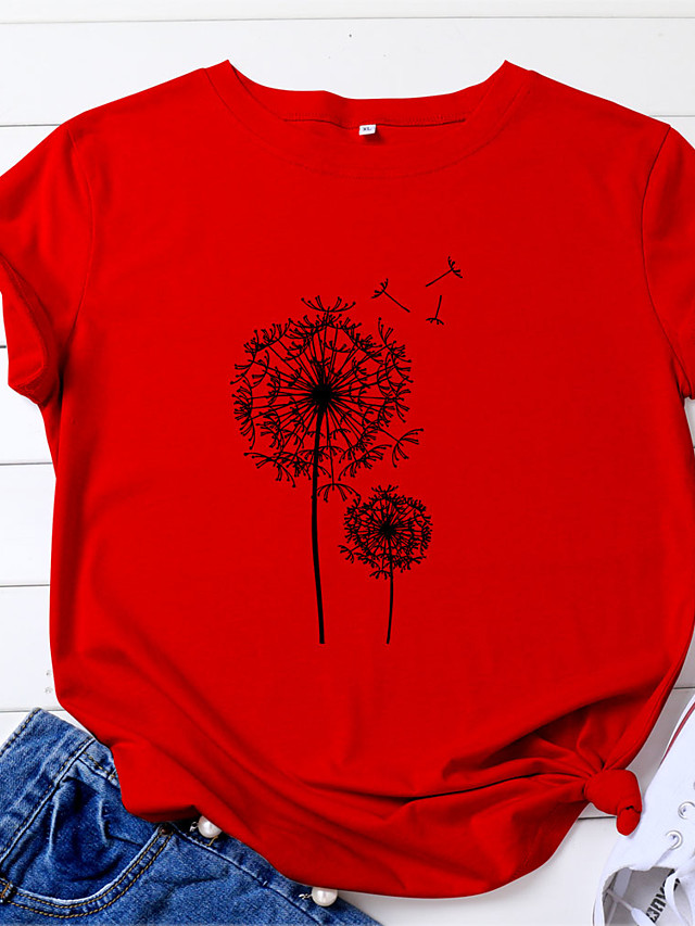Women's T shirt Floral Geometric Flower Print Round Neck Tops Cotton White Blue Red