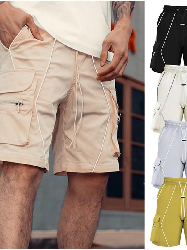 Men's Shorts Cargo Shorts Outdoor Loose Casual Daily Shorts Pants Geometry Short Pocket Reflective Strip ArmyGreen Grey Khaki Black Beige / Summer / Drawstring