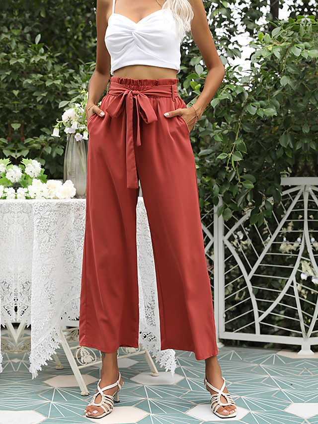 LITB Basic Women's High Waist Ruffled Trousers Solid Color Pants Full Length Daily Wear