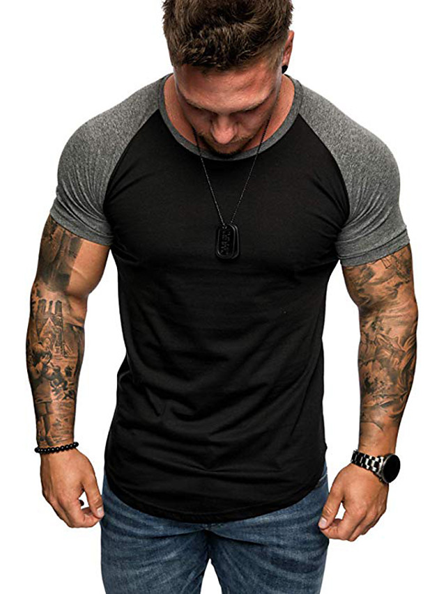Men's T shirt Shirt Graphic Color Block Plus Size Tops Round Neck White Red Black