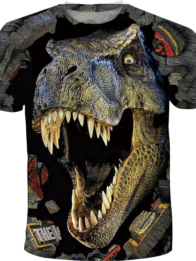 子供 男の子 Tシャツ Tシャツ 半袖 恐竜 3Dプリント カラーブロック 動物 クルーネック 速乾性 ブルー イエロー カーキ色 子供達 トップの 夏 ベーシック ストリートファッション カジュアル 3〜12年