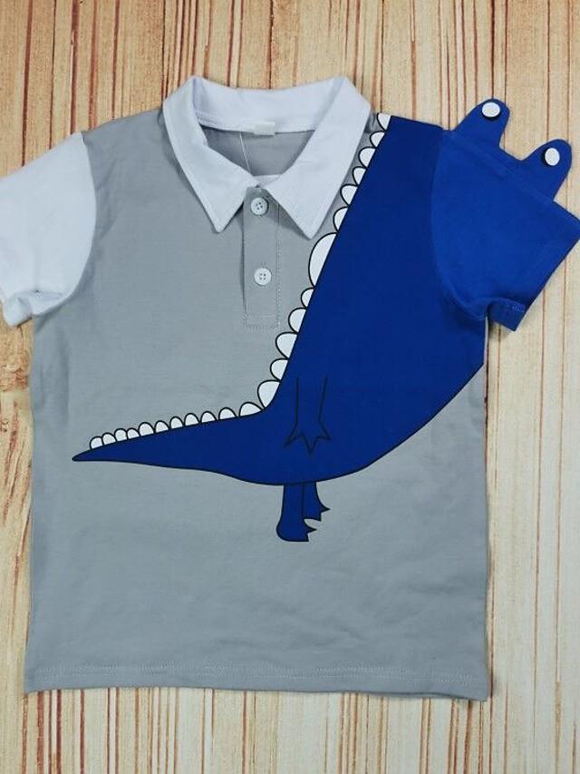 Kids Boys' T shirt Tee Short Sleeve Dinosaur Animal Print Gray Children Tops Summer Basic Regular Fit 2-8 Years