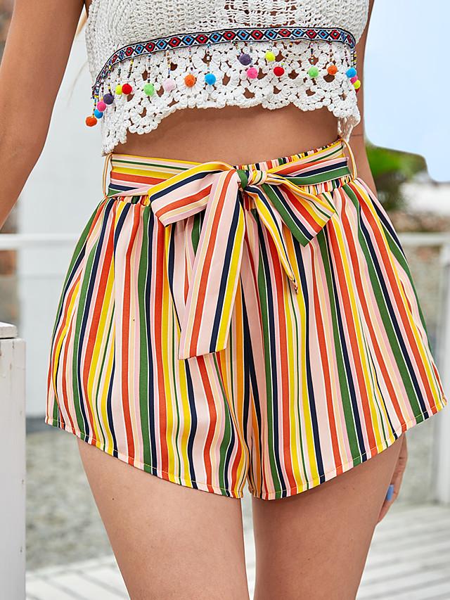 LITB Basic Women's Striped Rainbow Shorts Tie Front Short Pants Beach Holiday