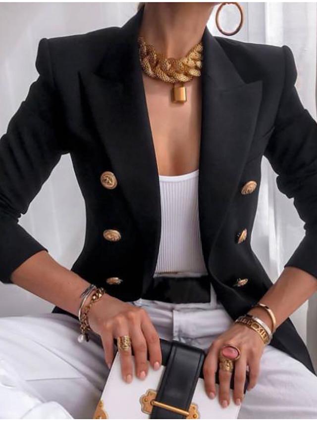 Women's Blazer Solid Color Vintage Style Long Sleeve Coat Spring &  Fall Regular Jacket khaki