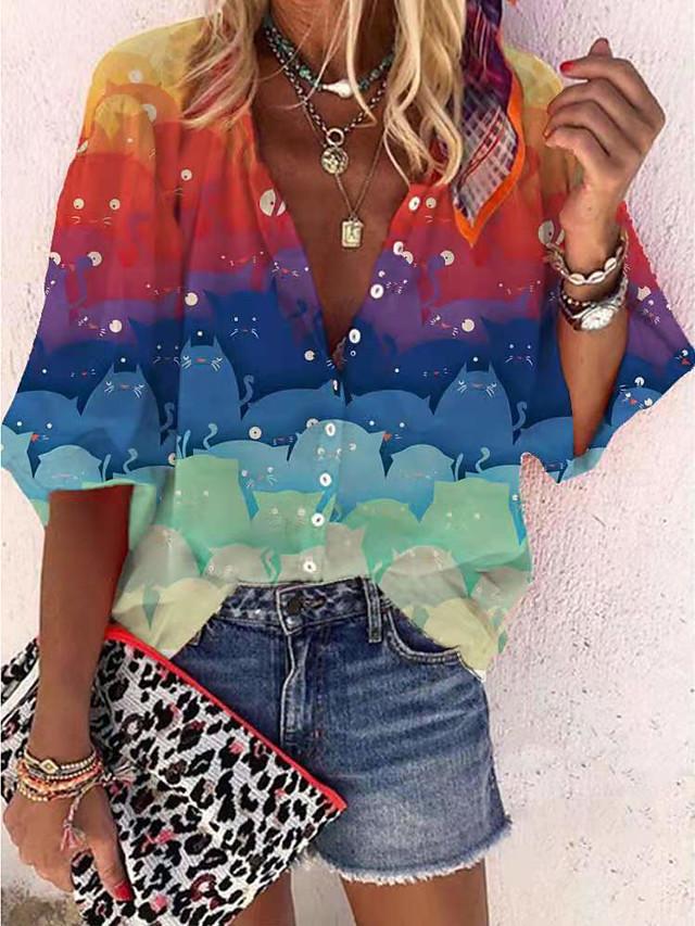 Damen Bluse Hemd Einfarbig Langarm Asymmetrisch Druck V-Ausschnitt Grundlegend Freizeit Oberteile Purpur