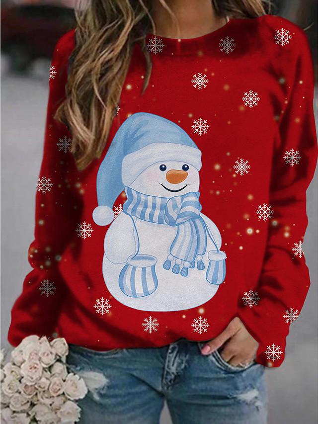 Жен. Толстовка Натяни Графика Буквы Рождество Повседневные Классический Рождество Толстовки Толстовки Синий Зеленый Белый