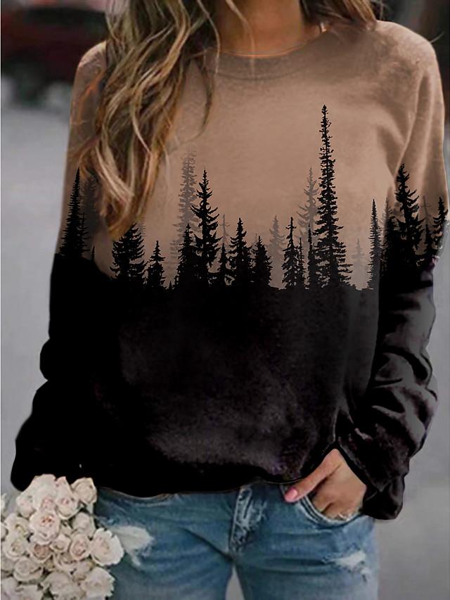 Women's Sweatshirt Pullover Scenery Color Block 3D Print Daily Sports 3D Print Active Streetwear Hoodies Sweatshirts  Blue Gray Brown