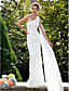 cheap Wedding Dresses-Mermaid / Trumpet Wedding Dresses One Shoulder Sweep / Brush Train Lace Sleeveless with Flower 2020