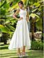 cheap Wedding Dresses-Princess A-Line Wedding Dresses Scoop Neck Asymmetrical Satin Sleeveless with Beading Appliques Pocket 2020