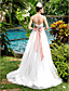 cheap Wedding Dresses-A-Line Wedding Dresses Sweetheart Neckline Sweep / Brush Train Lace Tulle Strapless Cute with Bowknot Sash / Ribbon Beading 2020