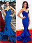 cheap Evening Dresses-Mermaid / Trumpet Celebrity Style Inspired by Emmy Holiday Cocktail Party Formal Evening Dress Strapless Sleeveless Sweep / Brush Train Chiffon with Ruffles Split Front 2020