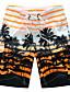 ราคาถูก กางเกงผู้ชาย-สำหรับผู้ชาย พื้นฐาน / สไตล์ชายหาด / Tropical ขนาดพิเศษ ชายหาด หลวม / กางเกงขาสั้น กางเกง - ลายแถบ ลายต่อ ฤดูร้อน ส้ม ทับทิม สีเหลือง XXXXL XXXXXL XXXXXXL