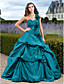 cheap Special Occasion Dresses-Ball Gown Elegant Floral Quinceanera Formal Evening Dress One Shoulder Sleeveless Court Train Taffeta with Pick Up Skirt Appliques 2020