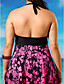 ราคาถูก ชุดว่ายน้ำ Tankini-สำหรับผู้หญิง ลวดลายดอกไม้ Retro ไม้กางเขน สีบานเย็น กางเกง tankini ชุดว่ายน้ำ - ลายดอกไม้ XXXXL XXXXXL XXXXXXL สีบานเย็น