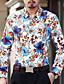 cheap Men's Shirts-Men's Party / Daily Cotton / Polyester Shirt - Floral / Long Sleeve