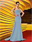 cheap Evening Dresses-Mermaid / Trumpet Celebrity Style Open Back Holiday Cocktail Party Formal Evening Dress Strapless Sleeveless Sweep / Brush Train Jersey with Criss Cross Ruched Beading 2020