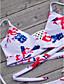 ราคาถูก ชุดบิกินี-สำหรับผู้หญิง ลวดลายดอกไม้ ขาว Thong บิกินี่ ชุดว่ายน้ำ - ลายดอกไม้ ลายพิมพ์ M L XL ขาว
