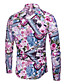 cheap Men's Shirts-Men's Simple Plus Size Cotton / Linen Shirt - Floral / Long Sleeve