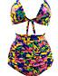 billige Bikinis-Dame Enkel Med stropper Regnbue Trekant Høy Midje Bikini Badetøy - Blomstret XL XXL XXXL Regnbue