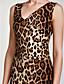 billige Kjoler med trykk-Dame Skinny Kroppstett Kjole Kjole - Leopard, Grunnleggende V-hals Midi