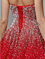 cheap Evening Dresses-Ball Gown Luxurious Red Quinceanera Formal Evening Dress Strapless Sleeveless Floor Length Satin Tulle with Crystals 2020
