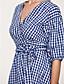 Χαμηλού Κόστους Print Dresses-Γυναικεία Κομψό στυλ street Θήκη Φόρεμα - Τετράγωνο Καρό, Στάμπα Μίντι Λαιμόκοψη V Μπλε
