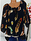 cheap Women's Blouses-Women's Daily Basic / Tropical Plus Size Blouse - Floral / Print / Feathers Lace up / Fashion / Print Black / Spring / Fall