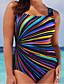 cheap Plus Size Swimwear-Women's Print Tummy Control Plus Size One-piece Strap Swimwear Swimsuit Bathing Suits - Rainbow Black Purple Brown XL XXL XXXL / Sexy