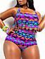 billiga Badkläder i plusstorlekar-Dam Tofs Hög midja Blom Tofs Färgblock Halterneck Guld Fuchsia Grön Bikini Badkläder - Geometrisk Tryck XL XXL XXXL Guld / Sexig