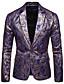 ราคาถูก เบลเซอร์ &สูทผู้ชาย-สำหรับผู้ชาย เสื้อคลุมสุภาพ, รูปเรขาคณิต ปกคอแบะของเสื้อแบบพึค ไหมสังเคราะห์ / เส้นใยสังเคราะห์ สีดำ / ทับทิม / สีน้ำเงินกรมท่า