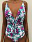 cheap One-piece swimsuits-Women's One Piece Swimsuit High Waist Drawstring Print Geometric Light Blue White Purple Red Yellow Swimwear Padded Bathing Suits Vintage