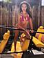 ราคาถูก ชุดว่ายน้ำและบิกินีผู้หญิง-สำหรับผู้หญิง พื้นฐาน โบโฮ สีเทา สีเหลือง สีบานเย็น Triangle Cheeky บิกินี่ ชุดว่ายน้ำ - สีพื้น รูปเรขาคณิต เปิดหลัง โบว์ ลายพิมพ์ S M L สีเทา