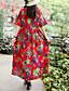 ราคาถูก ชุดเดรสพิมพ์ลาย-สำหรับผู้หญิง พื้นฐาน Chinoiserie ฝ้าย หลวม รูปตัว เอ แต่งตัว - ลายพิมพ์, ลายดอกไม้ ขนาดใหญ่ คอวี