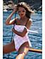 ราคาถูก ชุดว่ายน้ำและบิกินีผู้หญิง-สำหรับผู้หญิง พื้นฐาน ขาว คล้องไหล่ Cheeky ชิ้นหนึ่ง ชุดว่ายน้ำ - ลายบล็อคสี เปิดหลัง S M L ขาว