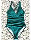 ราคาถูก ชุดว่ายน้ำและบิกินีผู้หญิง-สำหรับผู้หญิง ใบไม้สีเขียวที่มีสามแฉก ชิ้นหนึ่ง ชุดว่ายน้ำ - สีพื้น M L XL ใบไม้สีเขียวที่มีสามแฉก