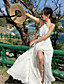 ราคาถูก Special Occasion Dresses-A-line คล้องไหล่ ลากพื้น ชิฟฟอน แต่งตัว กับ ผ่าหน้า โดย LAN TING Express