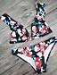 ราคาถูก ชุดว่ายน้ำและบิกินีผู้หญิง-สำหรับผู้หญิง สีดำ tankini ชุดว่ายน้ำ - ลายดอกไม้ M L XL สีดำ