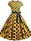 ราคาถูก ชุดเดรสวินเทจ-สำหรับผู้หญิง พื้นฐาน รูปตัว เอ แต่งตัว ลายบล็อคสี เหนือเข่า