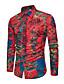 cheap Shirts-Men's Shirt Floral Plaid Paisley Long Sleeve Tops Vintage Boho Black Red Blushing Pink