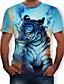 ราคาถูก เสื้อยืดและเสื้อกล้ามผู้ชาย-สำหรับผู้ชาย ขนาดพิเศษ เสื้อเชิร์ต ฝ้าย ลายพิมพ์ คอกลม 3D / สัตว์ สีฟ้า
