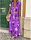 cheap Summer Dresses-Women's Maxi Sheath Dress - Sleeveless Floral Print Print Spring & Summer Deep V Casual Holiday Vacation Slim Boho / Beach Blue Purple Yellow S M L XL XXL / Cotton
