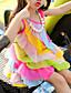 cheap Girls' Dresses-Kids Toddler Girls' Sweet Cute Rainbow Patchwork Layered Mesh Patchwork Sleeveless Asymmetrical Dress Fuchsia