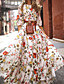 cheap Summer Dresses-Women's Floral Long Maxi White Dress With Sleeve 2020 Ruffle Casual Spring Holiday Vacation Swing Flower Lantern Sleeve Flared Print S M